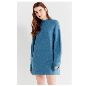 UO Mock Neck Sweater Dress Blue